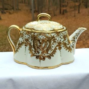 Other - Teapot, oval, gold hand painted, vintage